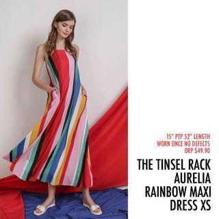 The Tinsel Rack TTR Aurelia Maxi Rainbow Stripe Dress XS