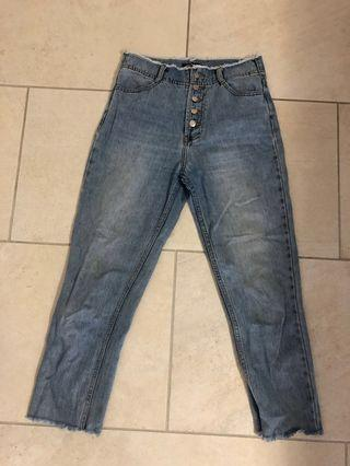 Bottom down high waisted jeans