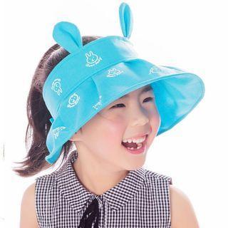FREE 🚚: Blue High quality cotton Girls rabbit ear sun hat, uv protection adjustable cute fashion