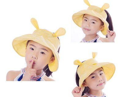 FREE 🚚: Yellow High quality cotton Girls rabbit ear sun hat, uv protection adjustable cute fashion