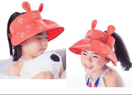 FREE 🚚: Orange High quality cotton Girls rabbit ear sun hat, uv protection adjustable cute fashion