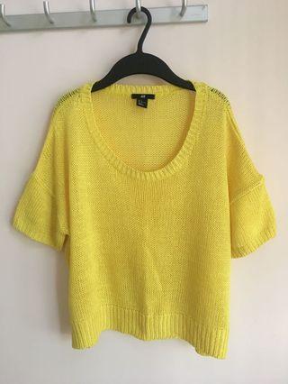 H&M 女裝鮮黃色 針織闊身上衣(原價$199)