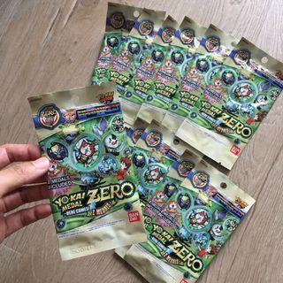 11 packs yo-kai medal blind packs, contain 2 medals each, seal packet zero series bandai yokai yo kai