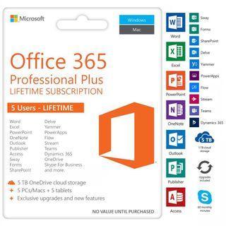 先用後付全新原裝正版 Microsoft Office365 pro plus 軟件 中英文, 五用戶,永久使用,免月或年費 2016 2019