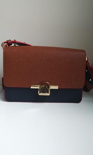 Massimo Dutti Two-Tone Leather Crossbody Bag with Metal Clasp