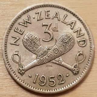 1952 New Zealand King George VI 3 Pence Coin