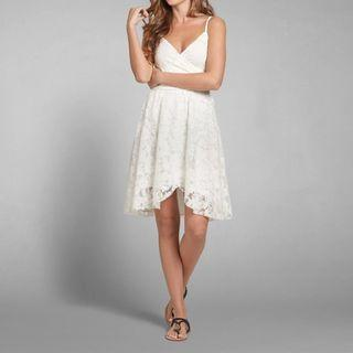 A&F白色吊帶超靚吊帶A字裙連身裙Abercrombie & Fitch white lace skater dress AF Hollister HCO AEO
