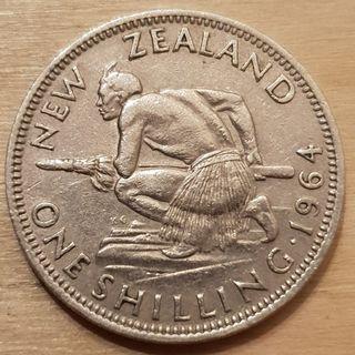 1964 New Zealand Queen Elizabeth II Shilling Coin