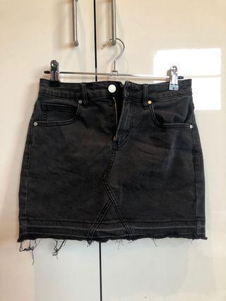 Seed Black Denim Skirt