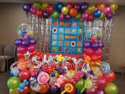 Customised balloon decoration - candy crush theme 🍬🍭
