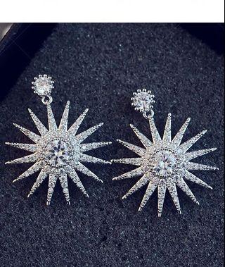 鋯石銀針耳環 明星同款 earrings