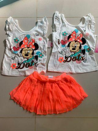 3pcs Minnie Mouse Set for age 2-3 yrs old