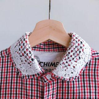 🚚 【全館八折低價出清-8成新】紅色格子蕾絲領可愛襯衫