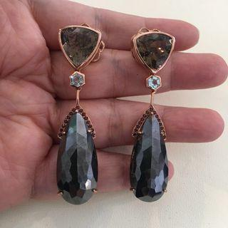 (SOLD) Smoky Quartz w hematite dangling earrings