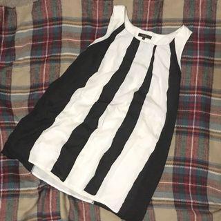 雪紡黑白直紋背心長衫