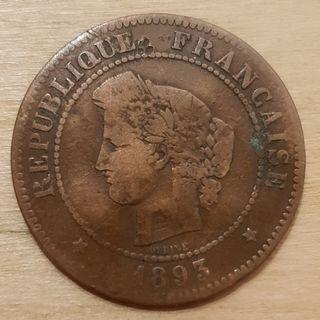1893 Republic of France 5 Centime Coin