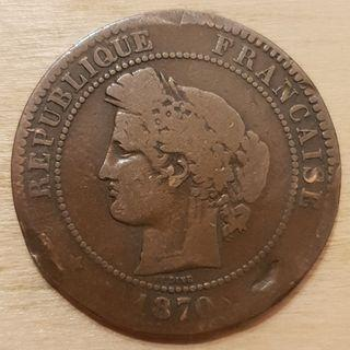 1870 Republic of France 10 Centime Coin