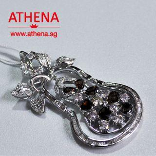 JW_DP_492 18K WG BROWN AND WHITE DIAMOND PENDANT BD7-0.60CTS D82-1.30CTS TD78-0.80CTS 10.82G