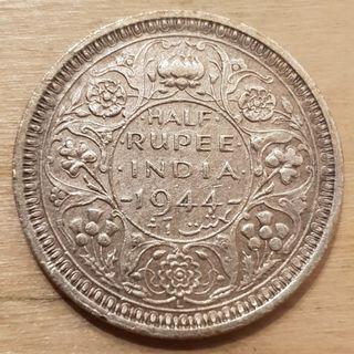 1944 British India King George VI Half Rupee Silver Coin