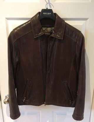 Danier Brown Leather Jacket - Size Small