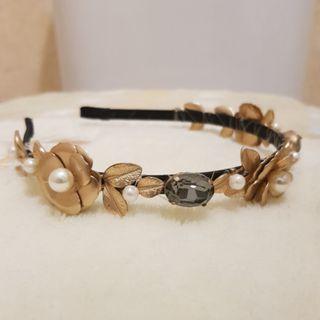 High quality head band baroque flower crystal pearl