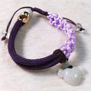 🚚 💟比翼雙飛💟天然緬甸玉A貨翡翠-冰淡紫 精雕立體 翅膀 愛心 編織手鍊