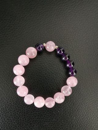 Rose Quartz with purple amethyst bracelet