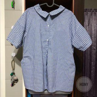 🚚 夏日藍格紋綁帶寬鬆襯衫 全新現貨