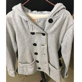 灰色雙排刷毛外套