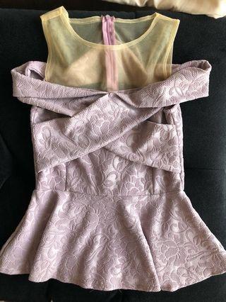 Sabrina peplum purple motif top