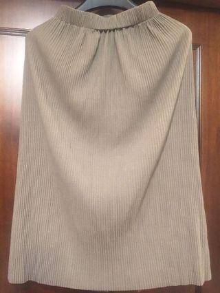 全新垂墜涼感壓褶鬆緊腰裙