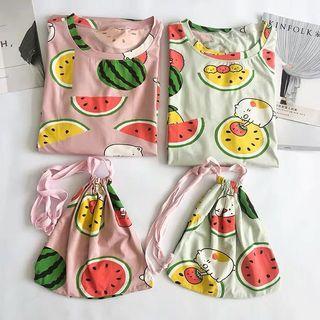 Plus Size Printed PJ Dress Set