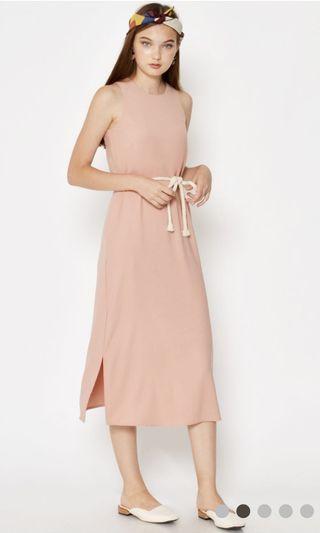 Love & Bravery Verlaine Midi Dress W Rope Sash Pink
