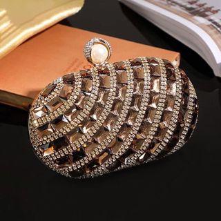 Gold Crystal Clutch / Wedding Formal Occasion Evening Statement Bag