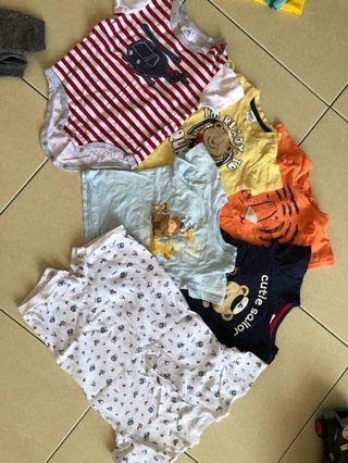 Assorted Brands of baby boy t shirt, rompers, long pants