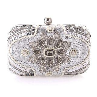 Sequin Beaded Crystal Clutch / Wedding Formal Occasion Evening Statement Bag