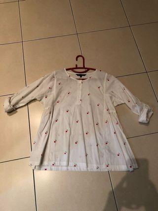 BNWOT French Connection cherry white top