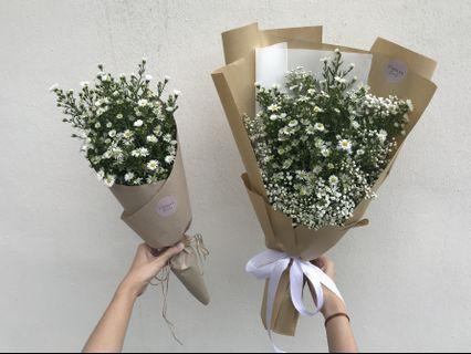 Daisies and baby breath bouquets