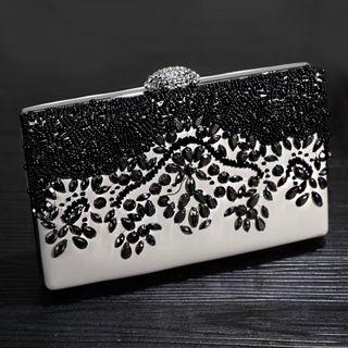 Black Crystal White Pouch / Wedding Formal Occasion Evening Statement Bag