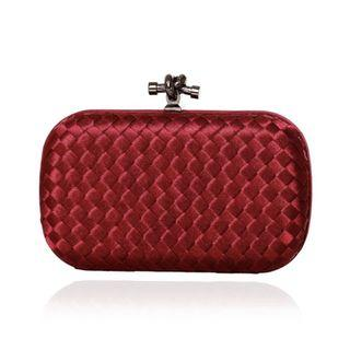 🚚 Red Weave Clutch  / Wedding Formal Occasion Evening Statement Bag