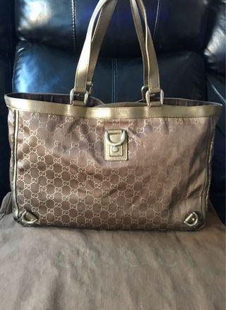Authentic GUCCI ABBEY GG nylon D-ring bag