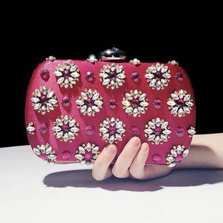 Pink Crystal Clutch / Wedding Formal Occasion Evening Statement Bag