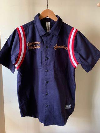 Double Dog short sleeve shirt / Size M / Navy Blue