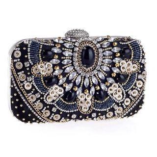 🚚 Beaded Crystal Black Clutch / Wedding Formal Occasion Evening Statement Bag
