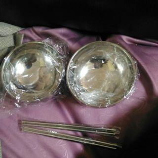 破盤150含運)不鏽鋼雙人餐具/野餐/露營組  有2個碗+2雙筷子