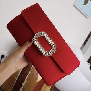 Long Crystal Clutch / Wedding Formal Occasion Evening Statement Bag