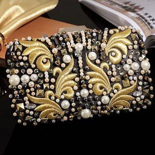 Gold Embroidery Beaded Black Clutch / Wedding Formal Occasion Evening Statement Bag