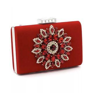 Red Crystal Clutch / Wedding Formal Occasion Evening Statement Bag
