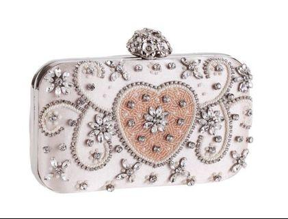 Heart Crystal Champagne Clutch / Wedding Formal Occasion Evening Statement Bag