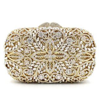🚚 Gold Crystal Clutch / Wedding Formal Occasion Evening Statement Bag